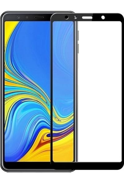 Ehr. Samsung Galaxy A9 2018 5D Full Nano Ekran Koruyucu Cam Siyah + Şeffaf Silikon Kılıf