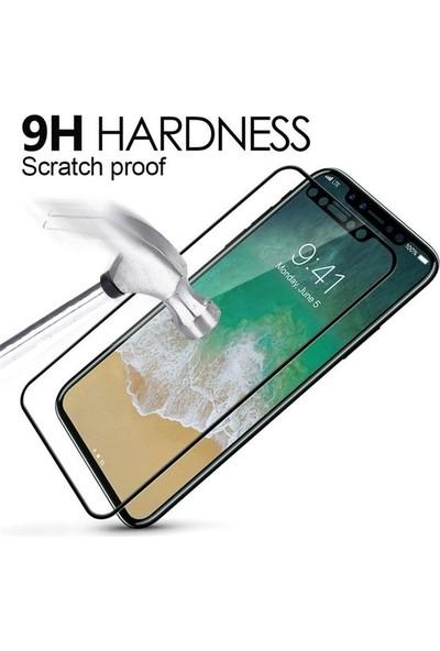 Ehr. Huawei Honor 7C 5D Full Nano Ekran Koruyucu Cam + Deri Silikon Kılıf - Siyah
