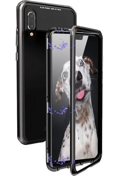 Ehr. Samsung Galaxy M20 Metalink Ultra Lüx Mıknatıslı 360 Kılıf - Siyah