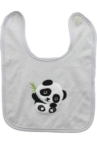 Uygun Bebe Panda Nakışlı Bebek Mama Önlüğü