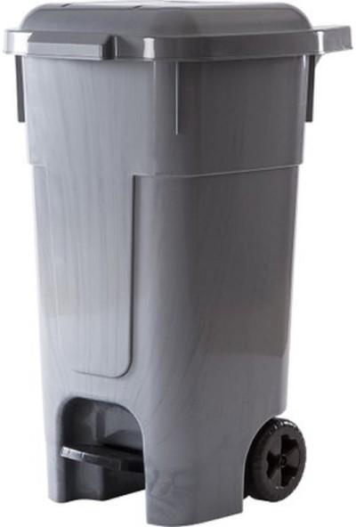 Violet Tekerlekli Pedallı Çöp Konteyneri 80 L Gri
