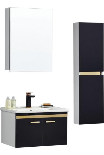 Gold Ban-yom Class Goldblack Banyo Dolabı + Ayna Ünitesi + Seramik Lavabo
