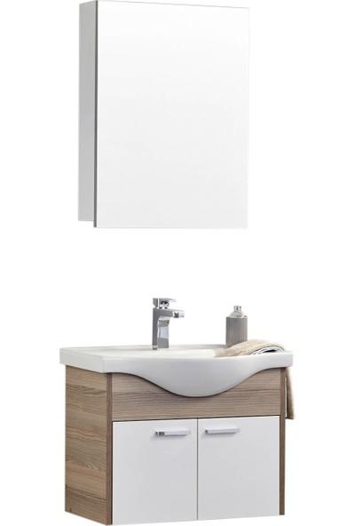 Gold Ban-yom Platin 65 cm Banyo Dolabı + Ayna Ünitesi + Seramik Lavabo