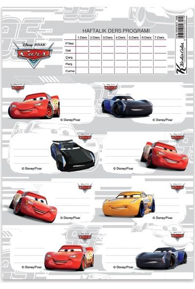 Cars Ders Programlı 3Lü Etiket