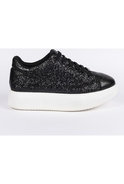 Jabotter Siyah Simli Şhine Sneakers Spor Ayakkabı