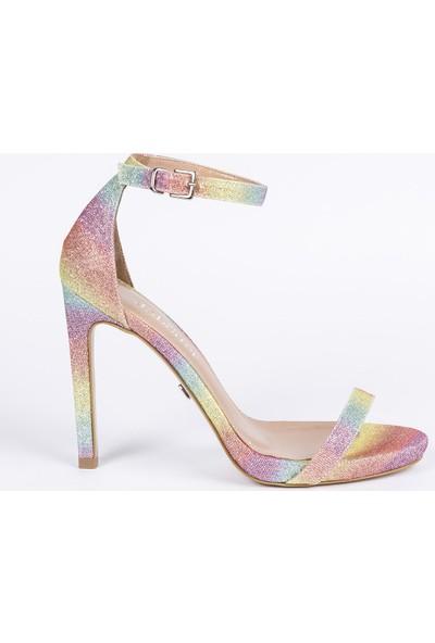 Jabotter Elegant Gökkuşağı Süet Topuklu Ayakkabı 12 Cm