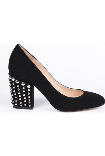 Jabotter Angel Siyah Süet Kalın Topuklu Ayakkabı 9 Cm