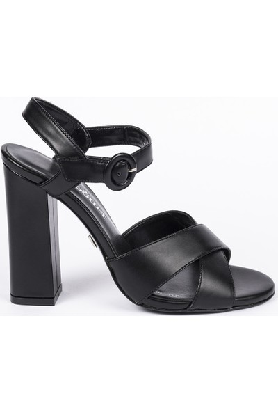 Jabotter Owen Siyah Deri Topuklu Ayakkabı 10 Cm
