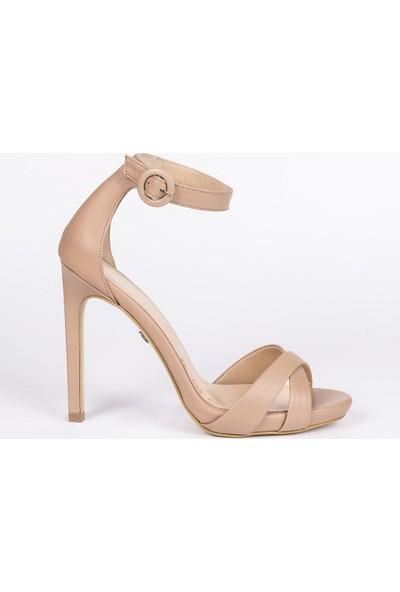 Jabotter Adara Karamel Deri 12 Cm İnce Topuklu Ayakkabı