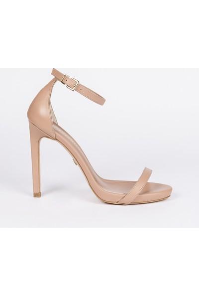Jabotter Elegant Karamel Deri 12 Cm Topuklu Ayakkabı