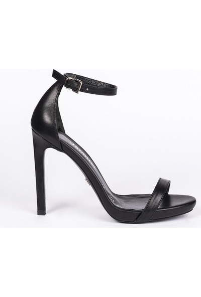 Jabotter Elegant Siyah Deri 12 Cm Topuklu Ayakkabı