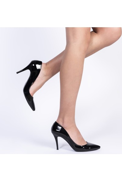 Jabotter Retro Siyah Rugan 8 Cm Stiletto