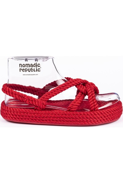 Nomadic Republic Bora Bora Vibram Platform Tabanlı Kırmızı Sandalet