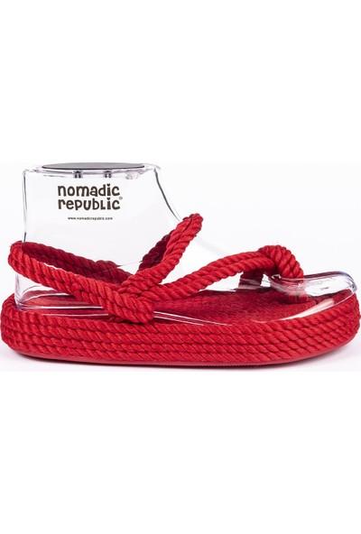 Nomadic Republic Hawaii Vibram Platform Tabanlı Kırmızı Sandalet