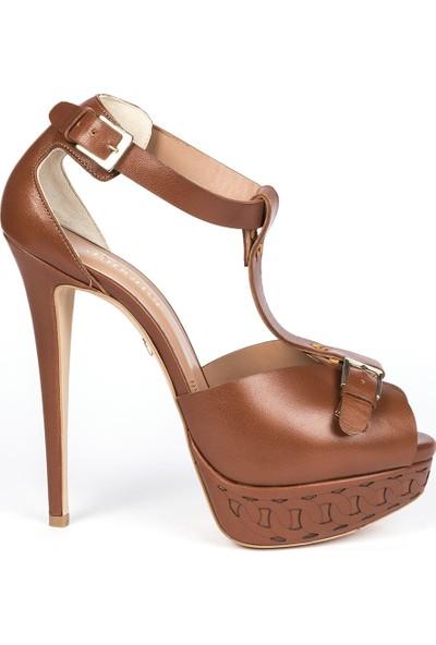 Jabotter Romance Taba Deri Platform Topuklu Ayakkabı