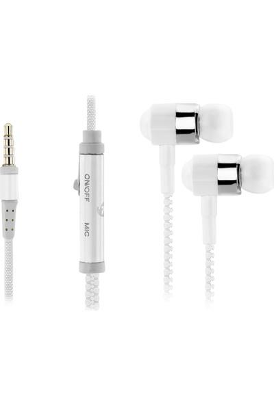 Ktools Universal Zıp Fermuarlı Beyaz Mikrofonlu Kulaklık 150 cm Kablo
