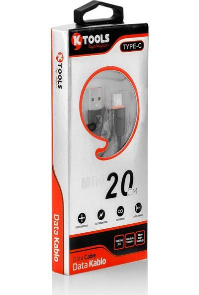 Ktools Android Mini 2A Type-C Data Kablo 20 cm