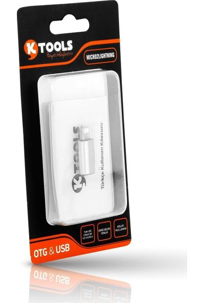 Ktools Micro USB To Lightning Gümüş Metal Dönüştürücü Apple