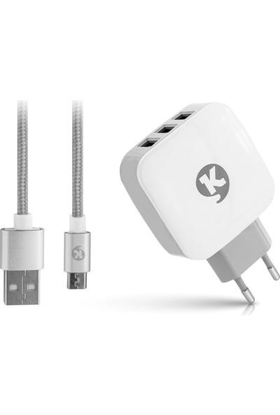 Ktools Power 3.4A 3 x USB Type-C Seyahat Şarj Cihazı ve Kablo
