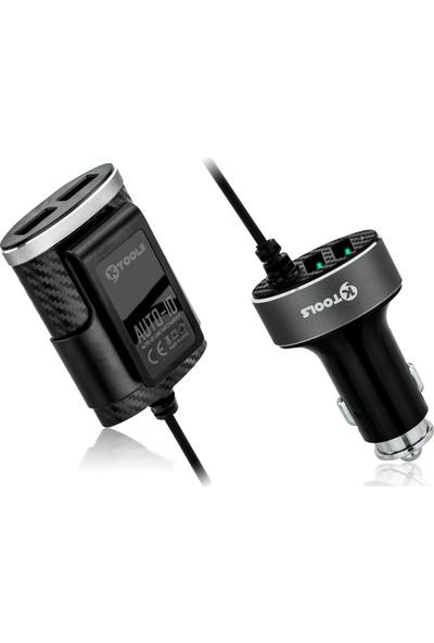 Ktools 2 + 2 Multi 4 Adet USB Siyah Araç Şarjı 5.1A