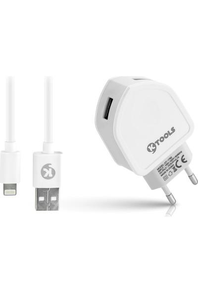 Ktools Comfort 2.1A 2 USB Lightning Beyaz Seyahat Şarjı