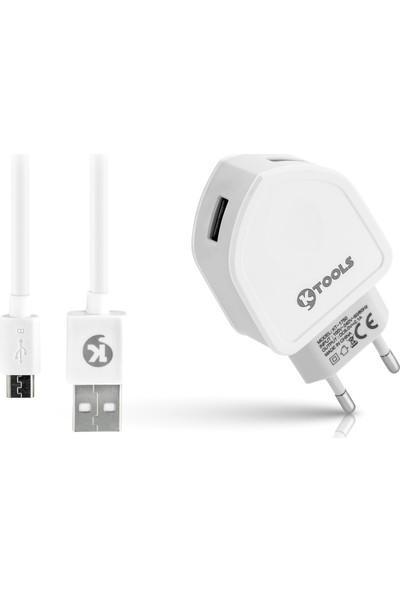 Ktools Comfort 2.1A 2 USB Micro Beyaz Seyahat Şarjı