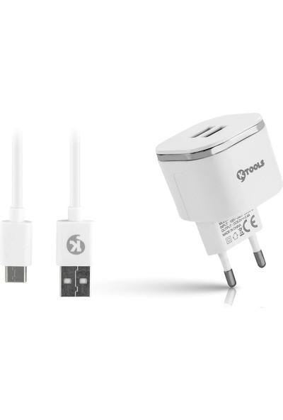 Ktools Easy 2.4A 2 USB Type-C Beyaz Seyahat Sarjı