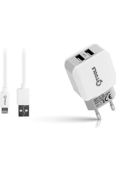 Ktools Mfi 2.4A 2 USB Lightning Beyaz Seyahat Şarjı Apple Lisanslı