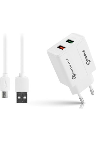 Ktools Boost 3.0 Qualcomm 4.4A 2 x Micro USB Beyaz Seyahat Şarjı