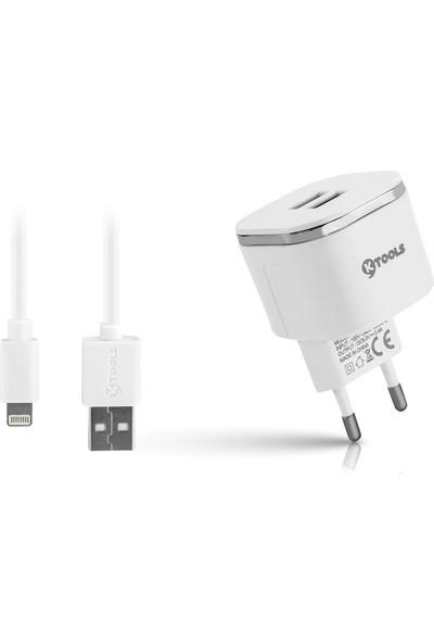 Ktools Easy 2.4A 2 USB Lightning Beyaz Seyahat Sarjı