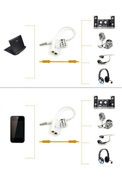 Microcase Cep Telefonu Tablet Notebook Için 3.5 mm Çift Çıkış Kulaklık ve Mikrofon Kablosu - Model : AL2310
