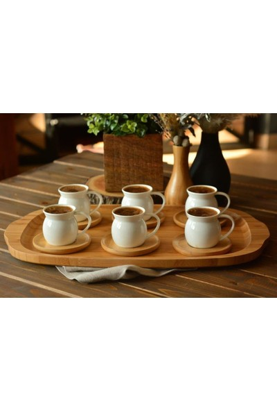 Getto Store Bambu Altlıklı Porselen Türk Kahvesi Fincan Takımı - B2779