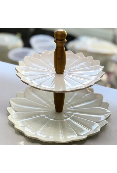 Getto Store Porselen İki Katlı Kurabiyelik Thn14740