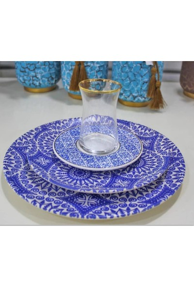 Getto Store 6Lı Lüks Çay Bardağı Takımı-Mavi