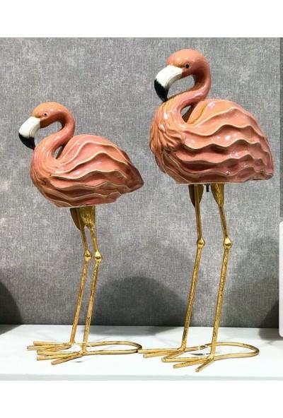 Kokosh Home 2Li Lüks Flamingo Dekoratif Obje Set