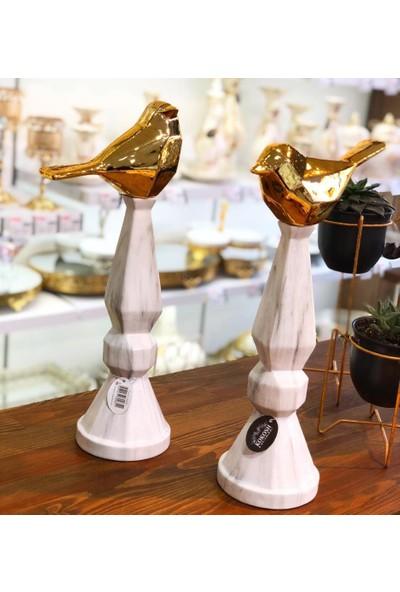 Kokosh Home 2Li Lüks Dekoratif Şamdanlı Kuş Set Beyaz