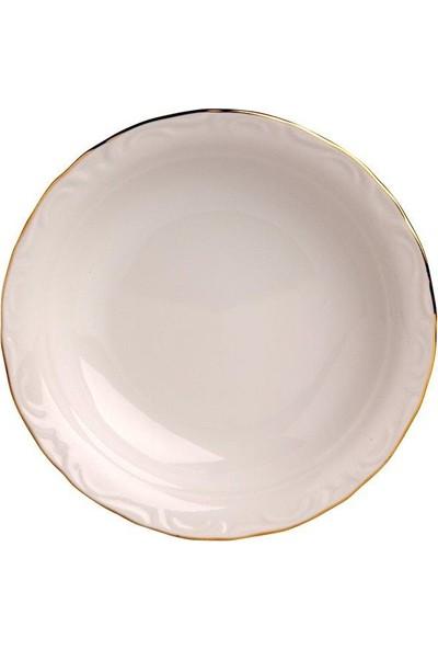 Porland Porselen 12'Li Altın Yaldız 20 Cm Çukur Tabak