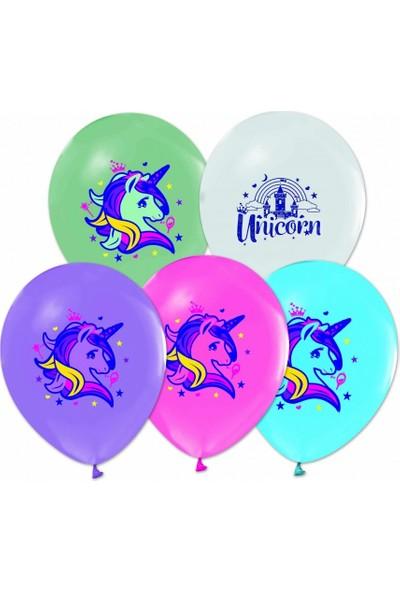 Balon Evi Unicorn Baskılı Pastel Renk Helyumla Uçan Balon 10 Adetli