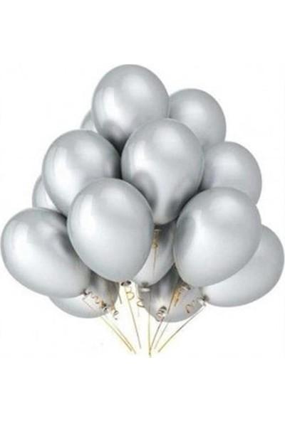 Atom Balon Atom 12 İnç Metalik Silver Gümüş Balon - 100 Adet