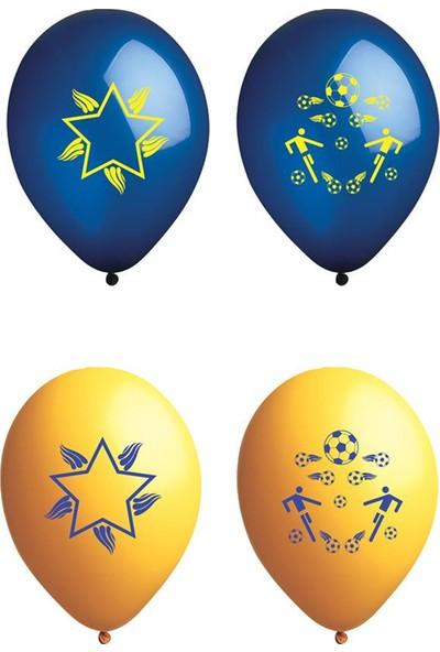 Atom Balon Atom Taraftar Balon Sarı Lacivert 12 İnç 100 Adet