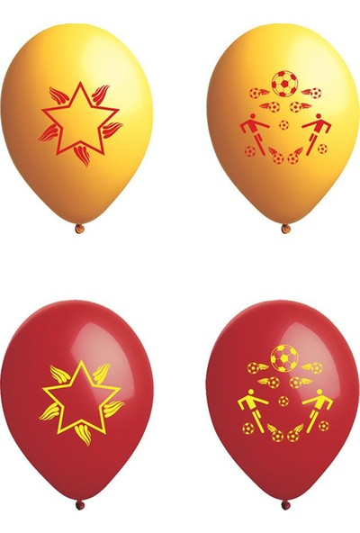 Atom Balon Atom Taraftar Balon Sarı Kırmızı 12 İnç 100 Adet