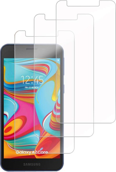 Case 4U Samsung Galaxy A2 Core Temperli Cam Ekran Koruyucu Şeffaf