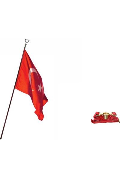 Bayrakal Tören Türk Bayrağı, Ahşap Direk Ve Hamail Seti