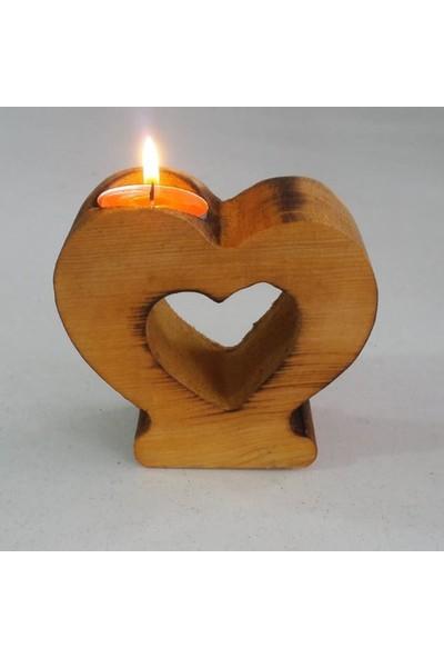 Benim Kınam Dekoratif Ahşap Hediyelik Harf Mumluk Doğal Masa Üstü Kalp