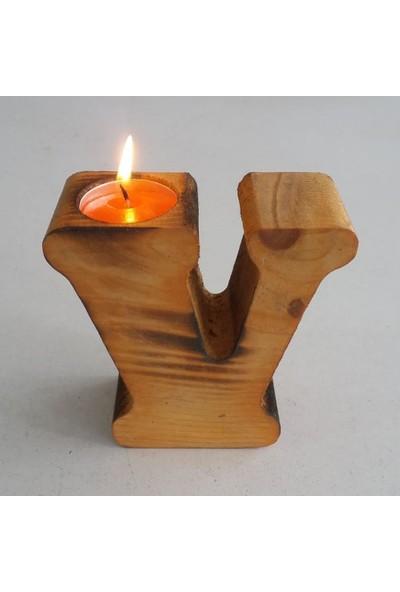 Benim Kınam Dekoratif Ahşap Hediyelik Harf Mumluk Doğal Masa Üstü V Harf