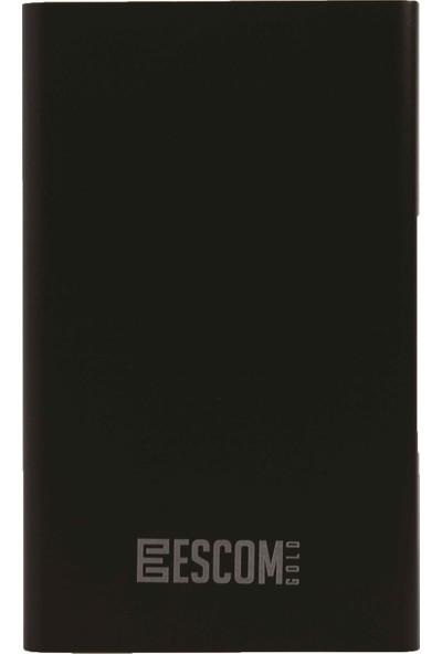 Escom Slim Metal Powerbank 5000 mAh Taşınabilir Şarj Cihazı Epb-1 Siyah