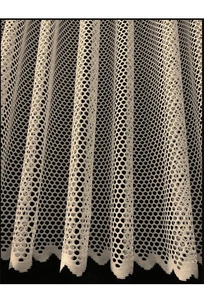 Caserta Home Lüx Avangart Taş Pilesiz Düz File Tül Perde - 100X190 cm