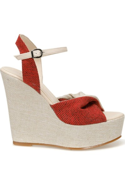 Butigo Merih33Z Kırmızı Krem Kadın Sandalet