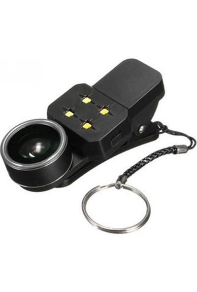 Coverzone Cep Telefonları İçin 4 In 1 Selfie Kamera Lens ve LED Flash Siyah