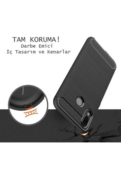 Casestore LG Q6 Carbon Brushed Soft TPU Silikon Kılıf Lacivert + Nano Ekran Koruyucu